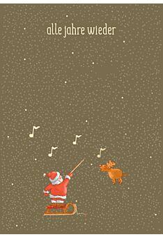 Weihnachtspostkarte Goldfolie Alle Jahre wieder - W-mann-Dirigent