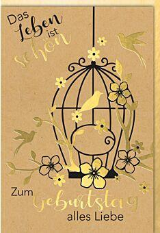 Geburtstagskarte Kraftpapier Vogelkäfigg mit goldenen Blüten