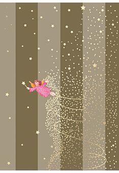 Weihnachtspostkarte Fliegender Engel mit Lichterkette