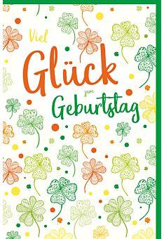 Glückwunschkarte Geburtstag Vierblättrige Kleeblätter