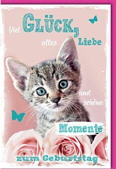 Glückwunschkarte Geburtstag Babykatze mit Rose