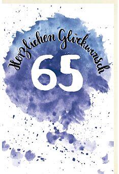 Geburtstagskarte 65 Jahre Schriftkarte mit Aquarellverlauf