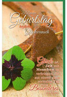 Geburtstagskarte Kleeblatt und Hufeisen