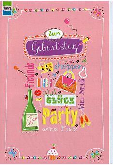Geburstagskarte Frau: Geburtstagswünsche rosa