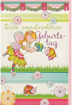 Geburtstagskarte Kinder Mädchen Fee