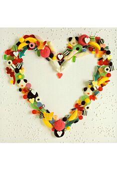 Grußkarte quadratisch ohne Text Herz Süßigkeiten