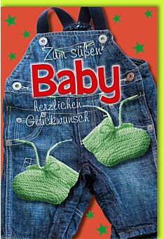 Glückwunschkarte zur Geburt Jeans Latzhose