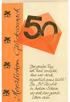 Glückwunschkarte 50 Geburtstag Der große Tag ist heute erreicht