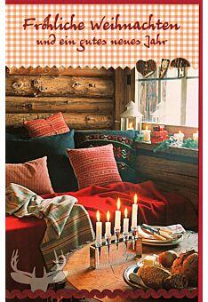 Weihnachtsgrußkarte Sofa gemütlich Holzhaus