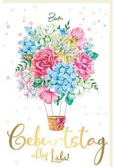 Glückwunschkarte Geburtstag Korb mit Schleife hängt an Blumen, mit Goldfolie