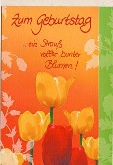 Geburtstagskarte ein Strauß voller bunter Blumen