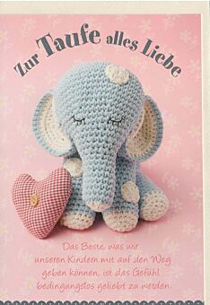 Glückwunschkarte Taufe niedlich originell: Elefant