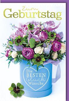 Geburtstagskarte mit Spruch Blumenstrauß mit Kleeblättern