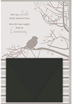 Kondolenzkarte mit Geldkuvert Zweige mit Vogel, mit schwarzem Geldkuvert, mit Silberfolie