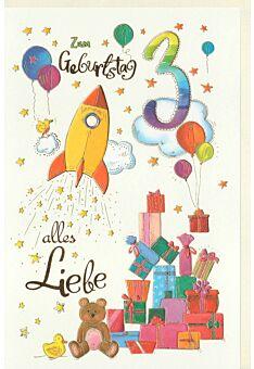 Kindergeburtstag Karte 3 Jahre Rakete und Geschenke, Naturkarton, mit Goldfolie und Blindprägung