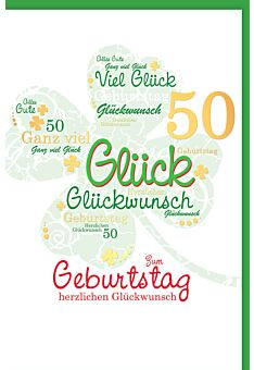 Geburtstagskarte 50 Zahlengeburtstag herzlichen Glückwunsch