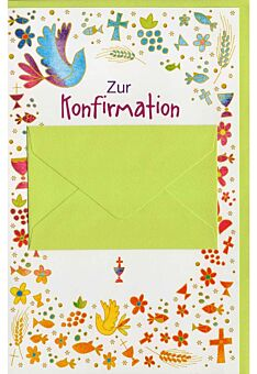 Glückwunschlarte Konformation mit Geldkuvert hellgrün
