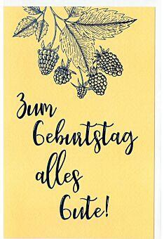 Geburtstagskarte Beeren und Blätter, Naturkarton, mit blauer Metallicfolie
