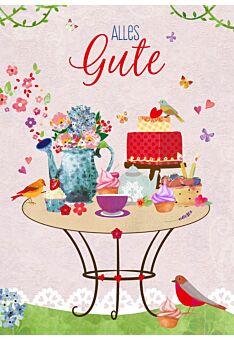 Postkarte Spruch Illustration Tisch Torte Vogel Alles Gute
