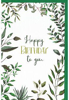 Geburtstagskarte Blätterzweige, Naturkarton, mit Innendruck