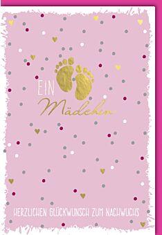 Goldene Glückwunschkarte Geburt Babyfüsse auf Rosa