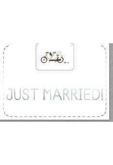 Karte Hochzeit Just Married Tandem