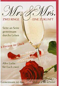 Glückwunschkarte Hochzeit zwei Ringe eine Zukunft