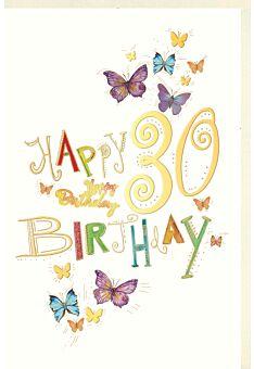 Geburtstagskarte 30 Jahre Schmetterlinge, Naturkarton, mit Goldfolie und Blindprägung