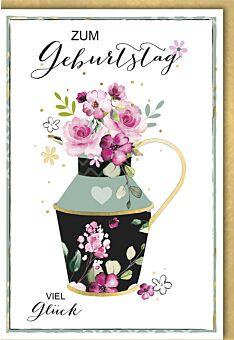 Geburtstagskarte premium originell Blumenvase mit Henkel