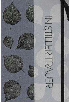 Trauerkarte edles Papier und Applikation neutral