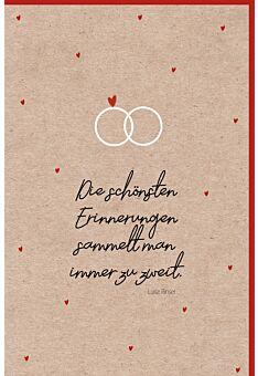 Hochzeitskarte Naturkarton originell Gesehen Genocht Gehofft Geküsst...