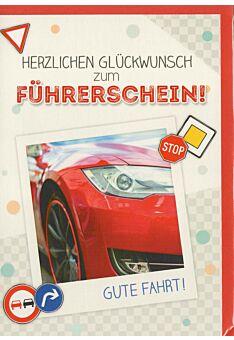 Glückwunschkarte Führerschein bestanden totes Auto