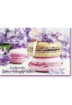 Geburtstagskarte mit Spruch Braun/Rosa Macarons