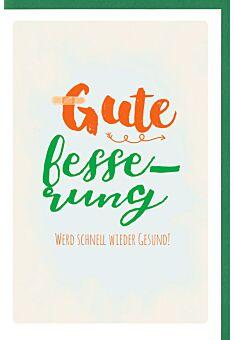 Genesungskarte Schriftkarte, mit schimmerndem Grüneffekt