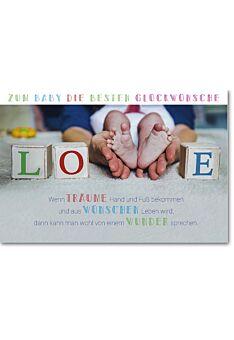 Glückwunschkarten zur Geburt Love Würfel