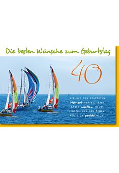Geburtstagskarte 40. Geburtstag - Segelboote