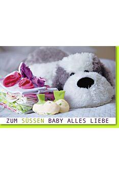 Glückwunschkarten zur Geburt Plüschhund