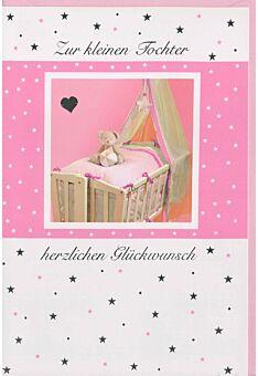 Glückwunschkarte Geburt Mädchen Wiege