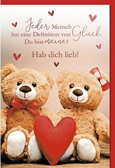 Grußkarte Liebe Partner Herz Bären Hab Dich lieb