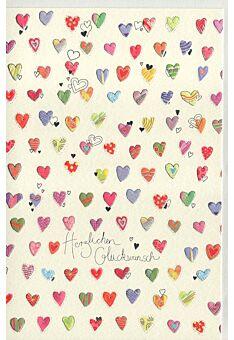 Glückwunschkarte Naturkarton kleine Herzen premium