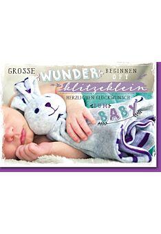 Glückwunschkarte Geburt Baby mit Kuschelhase