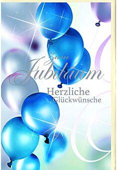Jubiläumskarten Silberfolie Luftballons