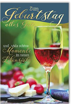 Geburtstagskarte Spruch Glas vor Käse & Radieschen