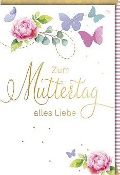 Muttertagskarte - Rosenblüten & Schmetterlinge
