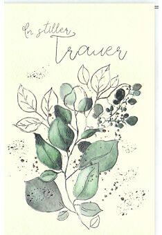 Trauerkarte Blätter, Naturkarton, mit Silberfolie und Blindprägung in stiller Trauer