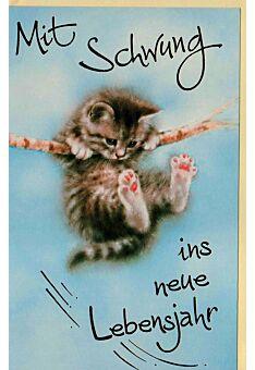Karte Geburtstag Katze mit Schwung ins neue Lebensjahr