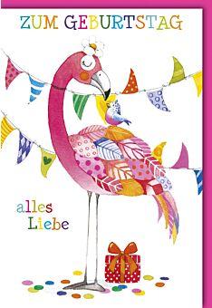 Geburtstagskarte für Kinder Flamingo mit bunten Federn