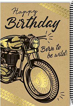 Geburtstagskarte Männer Kraftpapier Spruch gezeichnetes Motorrad