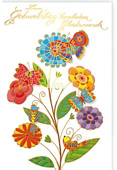 Glückwunschkarte Geburtstag Bunte Vögel und Scmetterlinge auf bunten Blumen