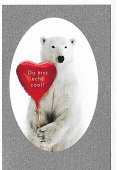 Valentinstagskarte Bär Herz Du bist echt cool